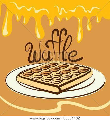 vector waffle with calligraphic inscription