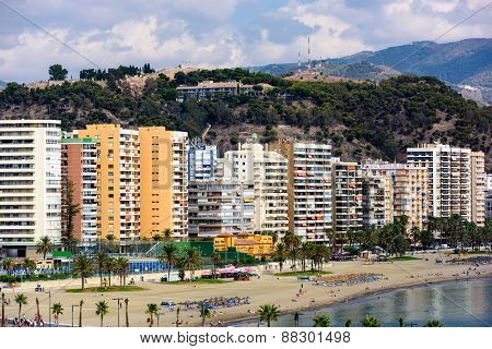 alaga, Spain resort skyline at Malagueta Beach.