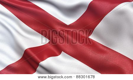 US state flag of Alabama waving in the wind.