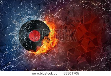 Phonograph record on fire and water with lightening around on abstract polygonal background. Horizontal layout with text space.