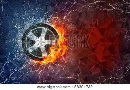Wheel on fire and water with lightening around on abstract polygonal background. Horizontal layout with text space.