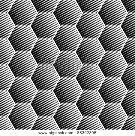 Hexagons pattern. Seamless geometric texture. Vector art.