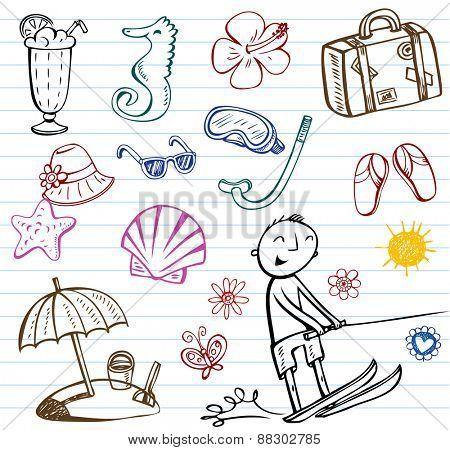 Summer holiday vector doodle collection