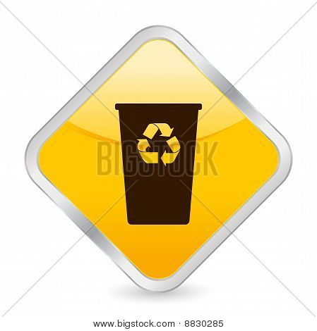 Recycle Bin Yellow Square Icon