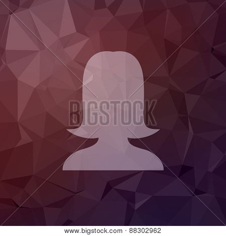 Young lady icon in flat style for web and mobile, modern minimalistic flat design. Vector white icon on abstract polygonal background