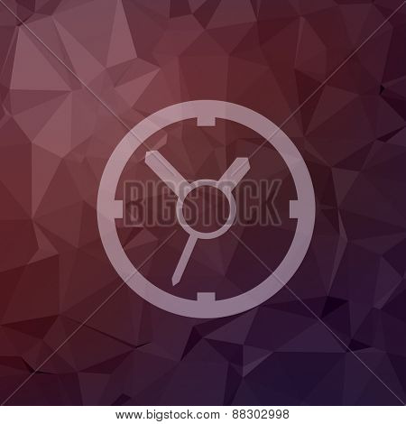 Clock icon in flat style for web and mobile, modern minimalistic flat design. Vector white icon on abstract polygonal background