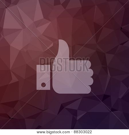 Like symbol icon in flat style for web and mobile, modern minimalistic flat design. Vector white icon on abstract polygonal background