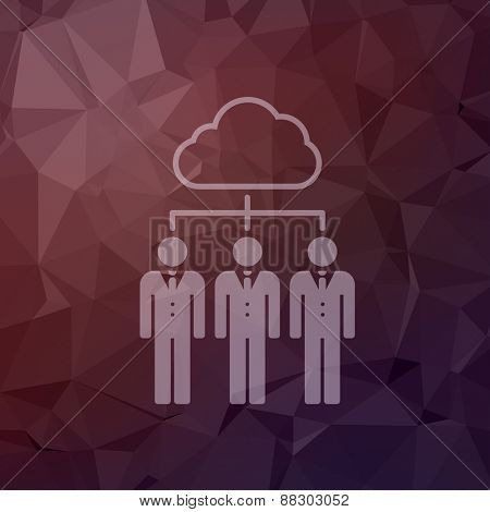 Three young man with cloud icon in flat style in flat style for web and mobile, modern minimalistic flat design. Vector white icon on abstract polygonal background