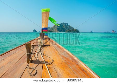 Longtail boat at the tropical beach in Andaman sea, Thailand