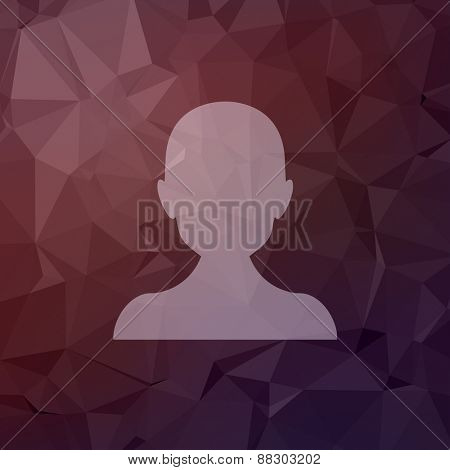 Young guy icon in flat style for web and mobile, modern minimalistic flat design. Vector white icon on abstract polygonal background