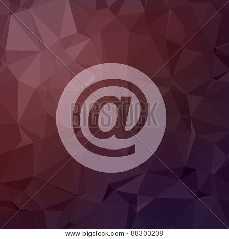email symbol icon in flat style for web and mobile, modern minimalistic flat design. Vector white icon on abstract polygonal background