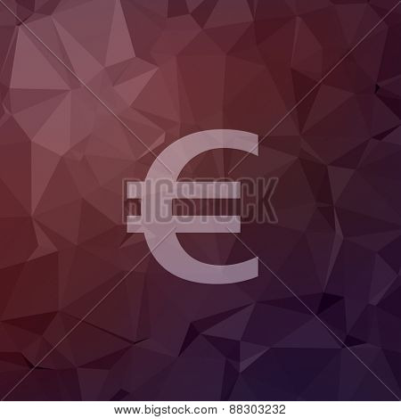 Euro symbol icon in flat style for web and mobile, modern minimalistic flat design. Vector white icon on abstract polygonal background