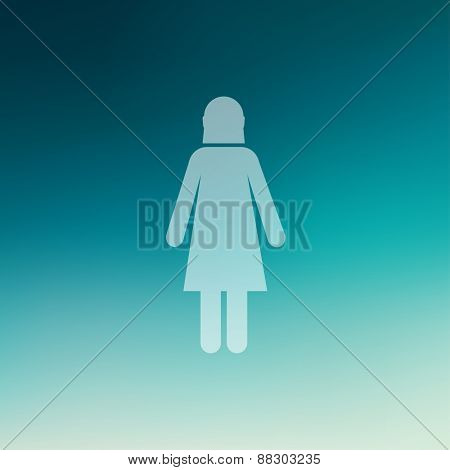 Women icon in flat style for web and mobile, modern minimalistic flat design. Vector white icon on gradient mesh background