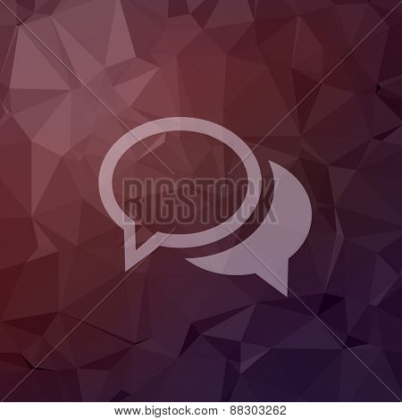 Two overlapping bubbles icon in flat style for web and mobile, modern minimalistic flat design. Vector white icon on abstract polygonal background