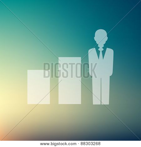 Man in growing diagram icon in flat style for web and mobile, modern minimalistic flat design. Vector white icon on gradient mesh background