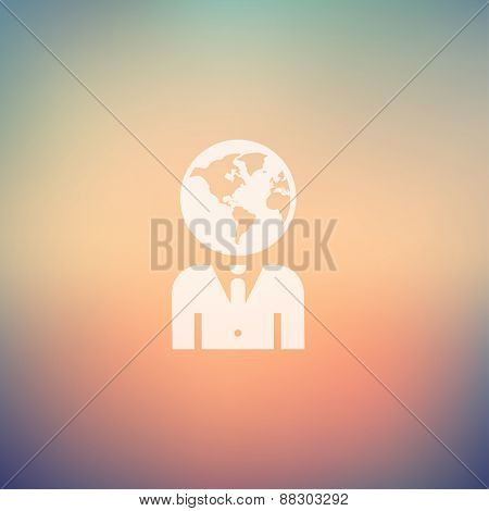 Human head icon in flat style for web and mobile, modern minimalistic flat design. Vector white icon on gradient mesh background