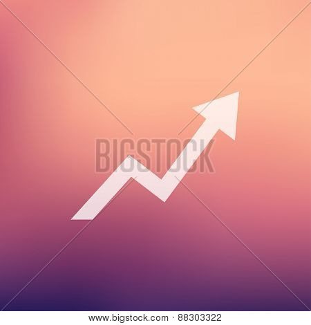 Lightning arrow upward icon in flat style for web and mobile, modern minimalistic flat design. Vector white icon on  gradient mesh background