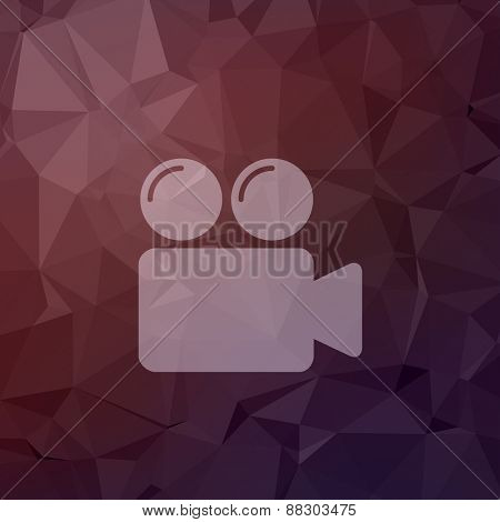 Video camera bubbles icon in flat style for web and mobile, modern minimalistic flat design. Vector white icon on abstract polygonal background
