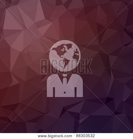 Human head icon in flat style for web and mobile, modern minimalistic flat design. Vector white icon on abstract polygonal background