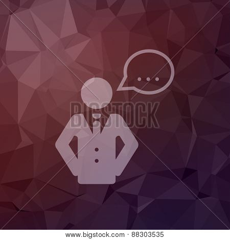 Male speech bubble icon in flat style for web and mobile, modern minimalistic flat design. Vector white icon on abstract polygonal background