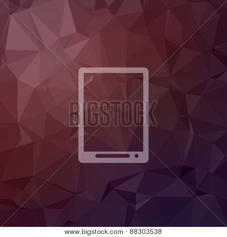 Modern tablet icon in flat style for web and mobile, modern minimalistic flat design. Vector white icon on abstract polygonal background