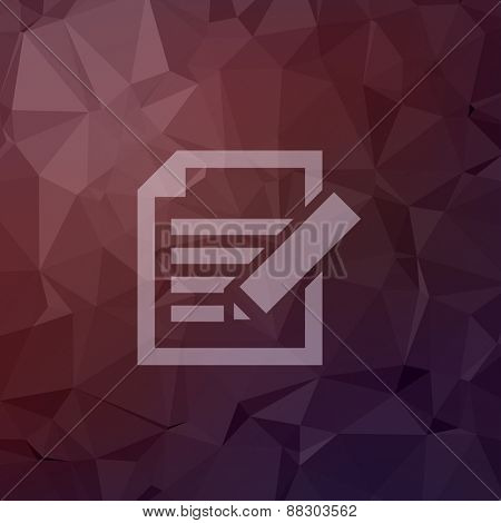 Taking note icon in flat styel for web and mobile, modern minimalistic flat design. Vector white icon on abstract polygonal background.