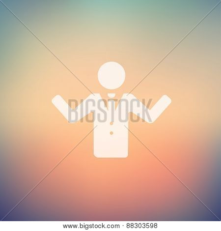 Man raising hand icon in flat style for web and mobile, modern minimalistic flat design. Vector white icon on gradient mesh background