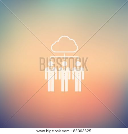 Three young man with cloud icon in flat style in flat style for web and mobile, modern minimalistic flat design. Vector white icon on gradient mesh background