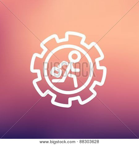 Man running inside the gear icon thin line for web and mobile, modern minimalistic flat design. Vector white icon on gradient mesh background.