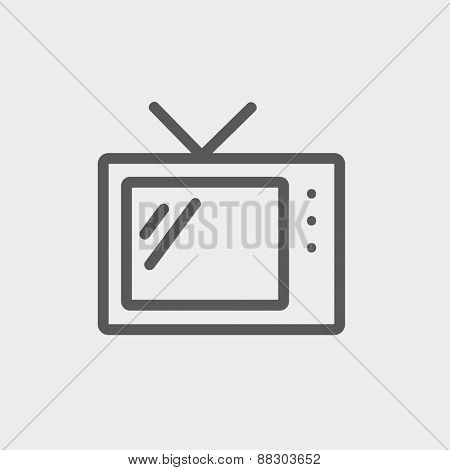 Retro television icon thin line for web and mobile, modern minimalistic flat design. Vector dark grey icon on light grey background.