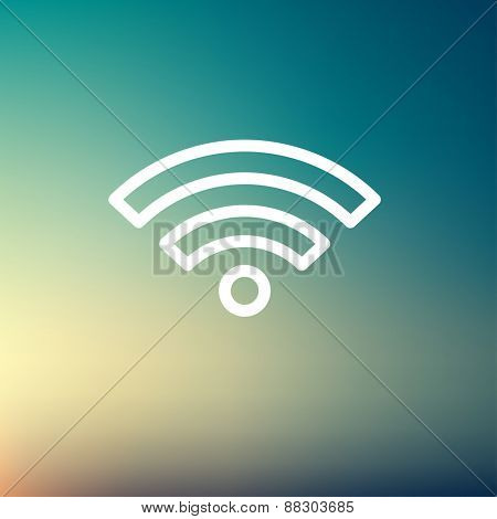 Wifi icon thin line for web and mobile, modern minimalistic flat design. Vector white icon on gradient mesh background.