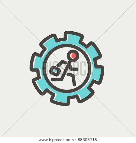 Man running inside the gear icon thin line for web and mobile, modern minimalistic flat design. Vector icon with dark grey outline and offset colour on light grey background.