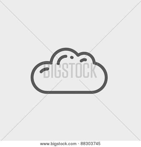 Cloud icon thin line for web and mobile, modern minimalistic flat design. Vector dark grey icon on light grey background.