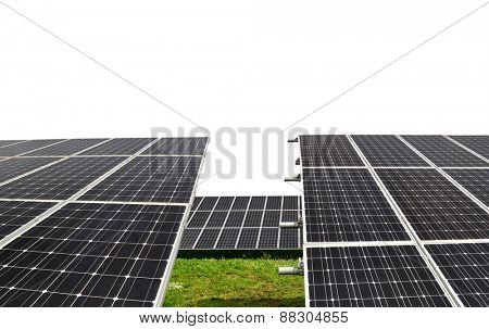 Solar energy panels on white background. Green energy.