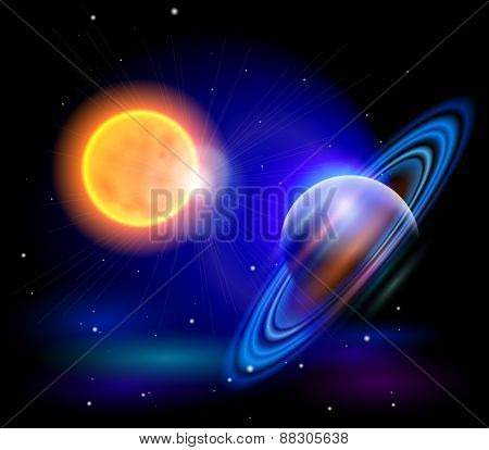 Magic Space - the Sun and planet, stars and constellations, nebulae and galaxies, lights. Vector illustration / Eps10