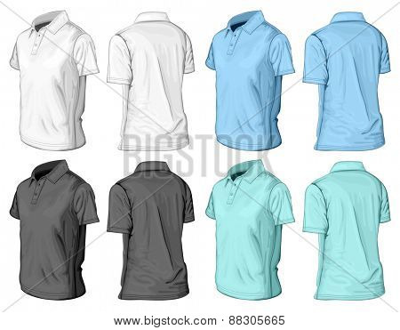 Men's short sleeve polo-shirt. Half-turned front and back views. Vector illustration.