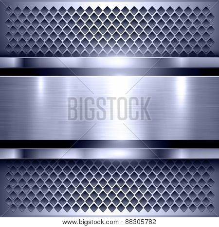 Background, polished metal texture, metallic vector illustration.