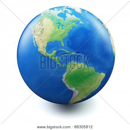 Earth isolated on white background with soft shadow, focus on Americas and United States. Map and earth data used is computer generated in public domain from www.naturalearthdata.com