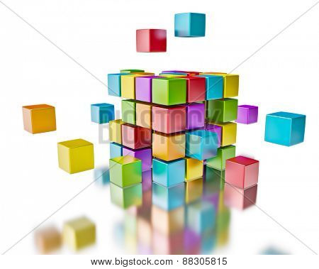 Business teamwork team collaboration brainstorm concept - colorful color cubes assembling into  cubic structure on white with reflection