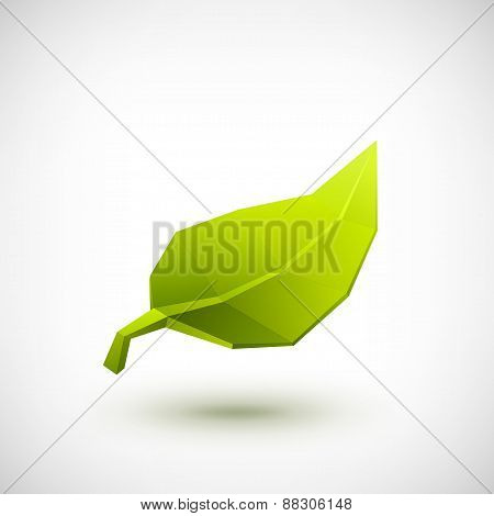 Conceptual polygonal green leaf.