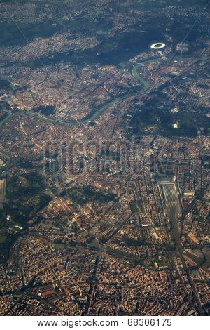 Aerial View Of Rome, Italy From Airplane Window