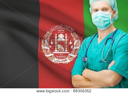 Surgeon With National Flag On Background Series - Afghanistan