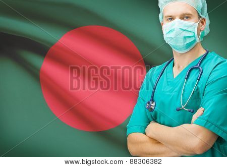 Surgeon With National Flag On Background Series - Bangladesh