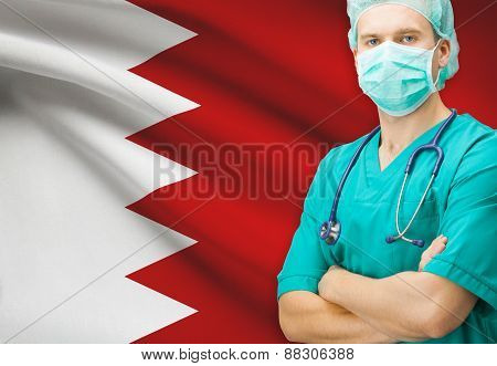 Surgeon With National Flag On Background Series - Bahrain
