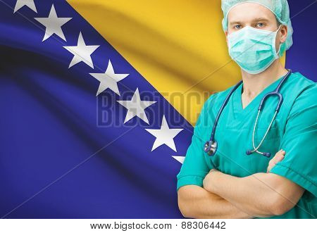 Surgeon With National Flag On Background Series - Bosnia And Herzegovina