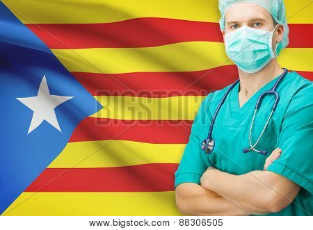 Surgeon With National Flag On Background Series - Estelada - Spain - Catalonia