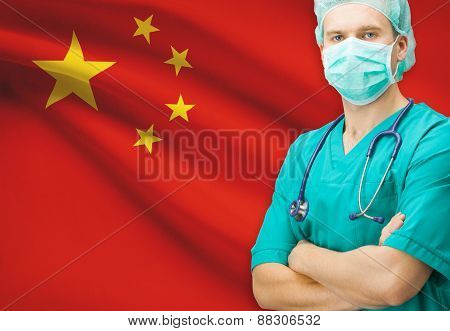 Surgeon With National Flag On Background Series - People's Republic Of China