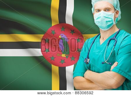 Surgeon With National Flag On Background Series - Dominica