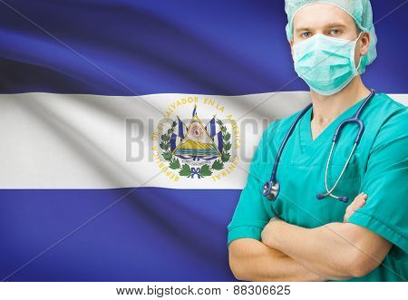 Surgeon With National Flag On Background Series - El Salvador
