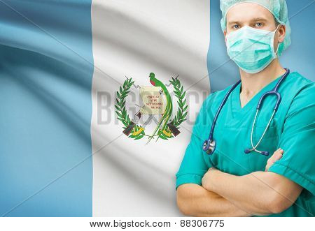Surgeon With National Flag On Background Series - Guatemala
